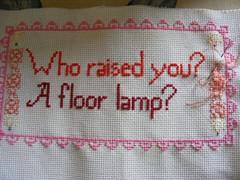 floor lamp progress (mabith) Tags: light silly flower thread bulb cross stitch embroidery border snark fiber subversive floss whoraisedyou