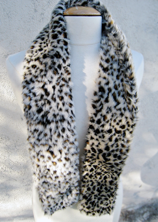 faux fur leopard print neck scarf DIY