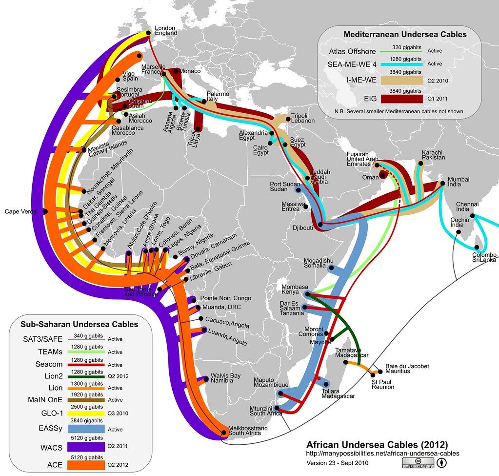 Sub-saharan Undersea Cables in 2012 - maybe (version 23)