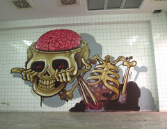 headoftheskeleton (RABBIT EYE MOVEMENT) Tags: urban streetart london art skeleton graffiti gallery factory evil tiles pure nychos