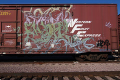 EPIK (TRUE 2 DEATH) Tags: railroad train graffiti tag graf traintracks rusty trains bn 63 railcar rusted weathered spraypaint boxcar railways railfan freight bnsf reefer graffitiart freighttrain itd rollingstock wfe scrapped westernfruitexpress benching  eoik