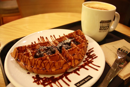 Blueberry Chocolate Waffle & Milk Tea