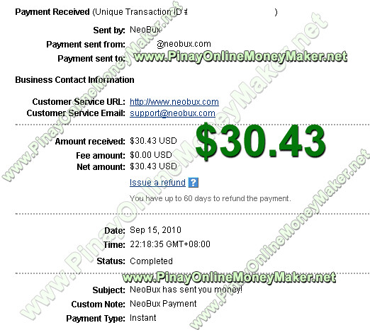 Neobux Payment Proof $30.43 on September 15, 2010 - PinayOnlineMoneyMaker.net