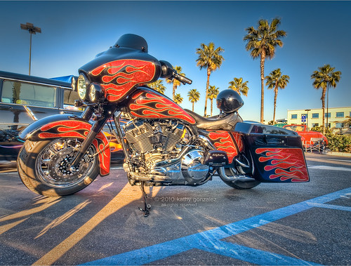 flamed harley