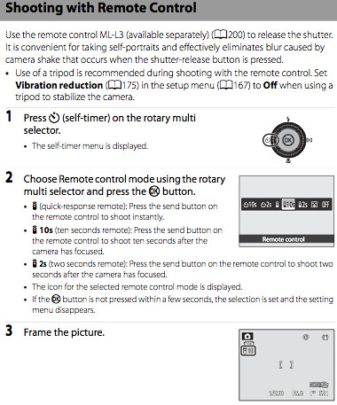 Using the Nikon ML-L3 remote, as documented on page 52 of the Nikon P7000 manual