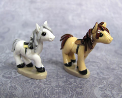 Tan and White Horses (DragonsAndBeasties) Tags: blue red sculpture horse white black cute green yellow statue set keychain pieces small run charm racing polymerclay fimo pony gift tiny kawaii sculpey etsy boardgame custom figurine commission phonecharm premo zipperpull ittybitty