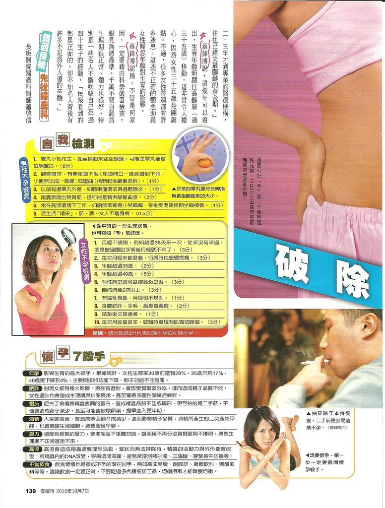 破除迷思好孕勢--2010年10月7日壹週刊訪問蔡鋒博醫師2