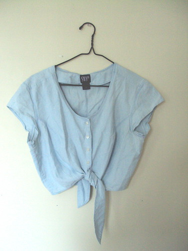 Denim Tie Crop Top
