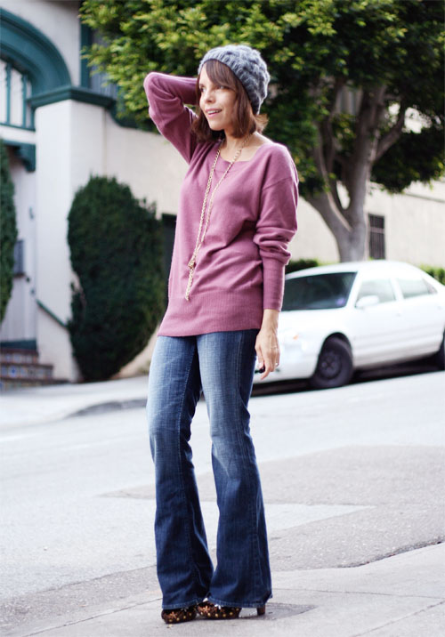 Wearing: Cashmere & Boot Cut Jeans
