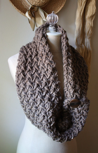 Embraceable Hand Knit Cowl Scarf in Tweedy Cocoa