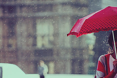 ( ~ ) Tags: red snow london ice rain umbrella