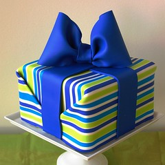 Striped Present Cake (bakingarts) Tags: cake baking dvd modeling chocolate arts stripe wrapped wrap gift present