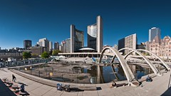 Under Construction (Benson Kua) Tags: city blue sky people panorama sun toronto ontario canada building square concrete hall construction downtown nathan arches philips p1030844