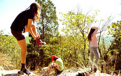 (eglectic) Tags: new york cliff mountain nature girl forest out outside outdoors photography shoe reading day looking hill sunny putting egle makaraite eglectic