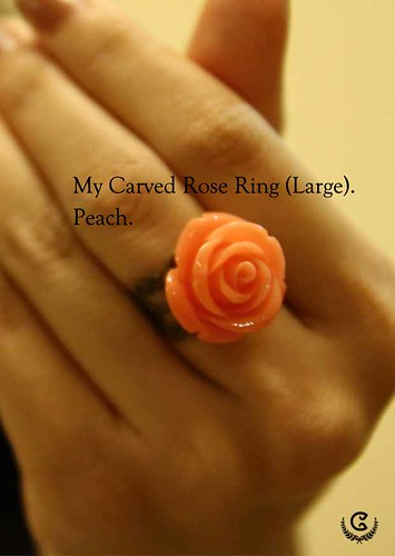 my carved ring (L) - peach