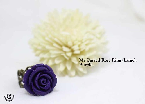 my carved ring (L) - purple