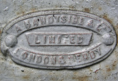 Andrew Handyside makers badge on Matlock Bath Drinking Fountain