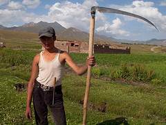 Sary-Moghul (Evgeni Zotov) Tags: boy people mountain man field grass work pose asia village wide lad rest farmer mower kyrgyz agriculture kyrgyzstan peasant scythe haymaker kirghizistan kirgistan kirgizia alay kirgizistan kirgizi kirgisistan  kirguistan kirghizia sarymoghul krgzistan quirguisto         sarymogol