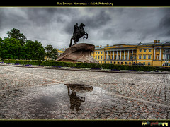 (The Bronze Horseman) (foje64) Tags: reflection monument statue bronze canon square russia saintpetersburg hdr senate senatesquare horseman photoshopelements peterthegreat catherinethegreat     bronzehorseman photomatix efs1022mmf3545usm canoneos500d  ii i