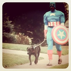 Captain America walks his dog (first cut) (wiseacre photo) Tags: portrait dog man film walking square walk squareformat captainamerica outtake thelittledoglaughed artlibres iphoneography instagramapp uploaded:by=instagram