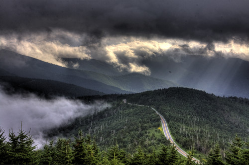 looking down on the Parkway from Mt Mitchell (by: Kolin Toney, creative commons license)