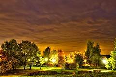 Evening park (Fluorite-777) Tags: park autumn weather night evening rest conversation meditation shelter avenue dialogue appointment atree romanticism ameeting alandscape acosiness arelaxation