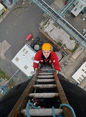 The job interview (Craig Hannah) Tags: work photo photos images photographs heights ladders jobinterview steeplejack theapprentice imagesropeaccess ropeaccessphotos