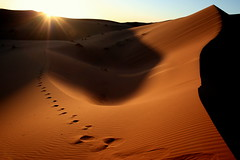 footsteps (Blue Spirit - heart took control) Tags: sunset shadow sand tramonto desert dune ombra marocco footsteps deserto sabbia impronte erg merzouga bestcapturesaoi