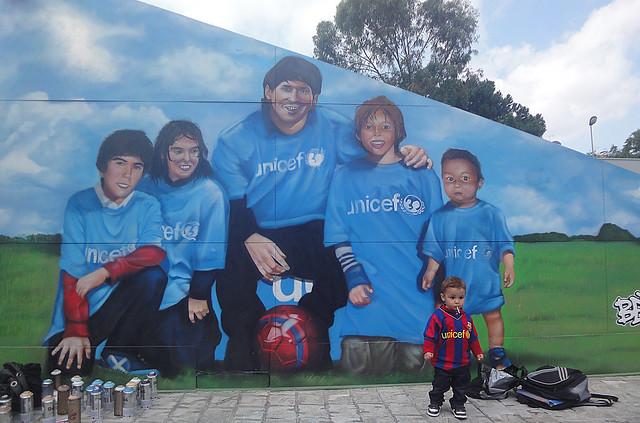 Graffiti de Lionel Messi en el hospital de la Vall Hebron