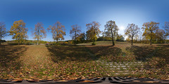 Autumn's here - 360x180 - Equirectangular (daitoZen) Tags: park autumn sky panorama sun color colour tree nature leaves germany munich mnchen outdoors bayern deutschland bavaria photography licht leaf europe fotografie view pentax pano tag herbst natur oberbayern himmel 360 panoramic fisheye westpark change munchen grad blatt sonne bltter bume schatten baum 360x180 muenchen draussen gegenlicht spheric hugin  equirectangular kugelpanorama 1017mm k20d sphrisch panomaxx 12904x6504px gettyimagesgermanyq1