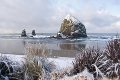 Haystack Rock with snow