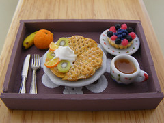 Continental Breakfast (Shay Aaron) Tags: autumn winter food orange house scale kitchen coffee fruit miniature doll berries tea handmade aaron fake mini banana polymerclay fimo tiny faux shay tart 12th 112 belgianwaffle dollhouse petit breakfastinbed twelfth tartlet sugarpowder shayaaron