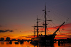 Sunset Over HMS Warrior (Sunset Snapper) Tags: sunset reflections boats harbour hampshire portsmouth filters warship hmswarrior