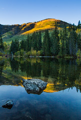 Reflections of Fall (Jim Boud) Tags: camera blue autumn sky mountain lake reflection green fall water leaves yellow canon eos leaf pond colorado dof crystal hill wideangle depthoffield rockymountains shallow marble aspen dslr digitalrebel photoart digitalslr artisticphotography superwideangle jimboud t2i jamesboud eos550d kissx4 rockscanon1022mm sunsetfirtree