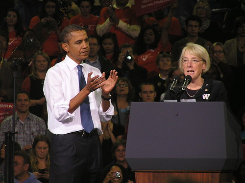 Barack Obama and Patty Murray at a rally on 10/21