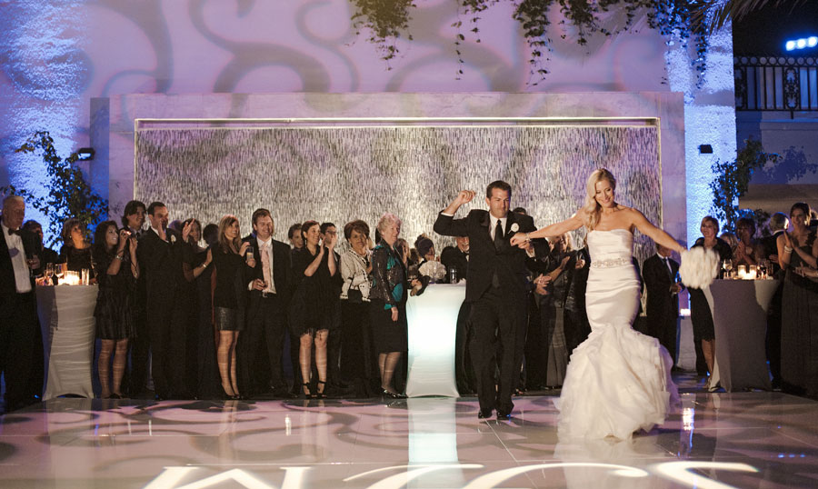 Covered pool dance floor wedding at the London West Hollywood
