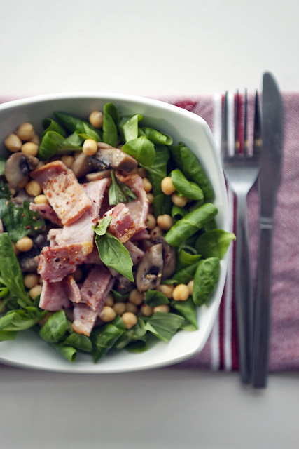Smoked Bacon, Chickpeas and Mushrooms