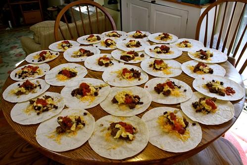Breakfast burritos pre-rolling
