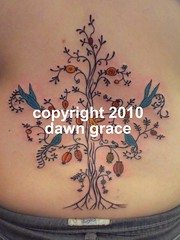 www.dawngrace.com (professional tattooing by dawn grace) Tags: life flowers trees woman india chicago tree leaves birds tattoo fruit female bug insect back vines artist girly feminine indian peacock tattoos swirl lower tatoo mehndi swirly peacocks tattooing