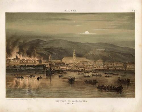 005-Incendio de Valparaiso 15 de Marzo de 1845-Atlas de la historia física y política de Chile-1854-Claudio Gay