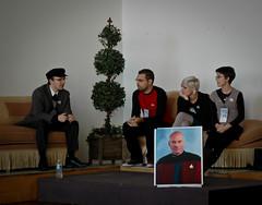 The Star Trek Panel (sarabeephoto) Tags: startrek nikond70s captainpicard lightroom easthampton patrickstewart neww eastworks dylanmeconis jessfink aarondiaz newenglandwebcomicsweekend ericcolossal startrekpanel