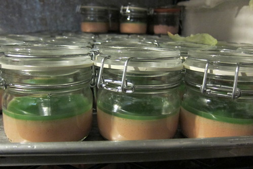 Jars of chicken liver parfait with green apple jelly