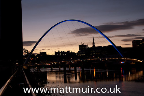 Newcastle Upon Tyne Millenium and Tyne Bridges by night -_