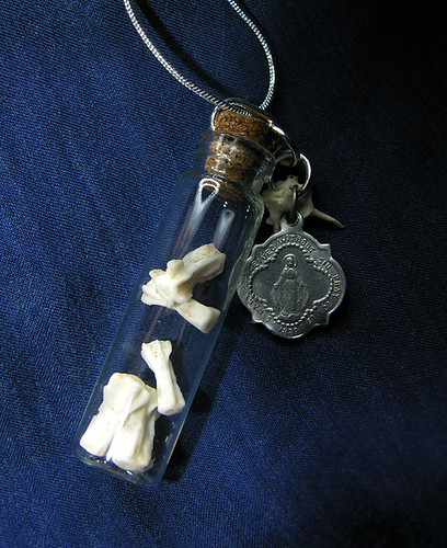 Large Glass Vial  Pendant: Mammal Tail Bones & Vintage Virgin Mary Charm
