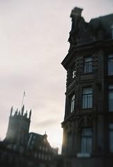 The end of Princes Street (chad_k) Tags: uk greatbritain film 35mm toy scotland edinburgh unitedkingdom britain toycamera princesstreet stjohns gb charlottehouse caledonianhotel gakken stjohnsepiscopalchurch gakkenflex