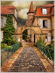 Stone path (Jean-Michel Priaux) Tags: house france tower castle art history architecture photoshop scary construction rocks hell alsace horror histoire manor château manoir anotherworld obernai donjon routedesvins priaux dunjon vanagram