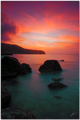 afterglow (chris frick) Tags: sunset seascape water rocks tripod wideangle filter transparency coastline mallorca afterglow cokin strongcolours 8nd a550 remoteshuttercontrol chrisfrick 8gnd sonyalpha550 caladaia colourgradients