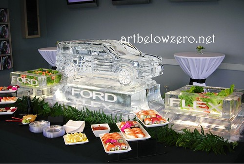 Ford Flex Seafood Display ice sculpture