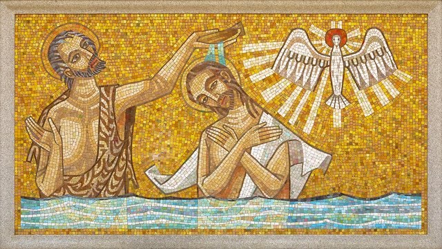 Resurrection Cemetery, in Affton, Missouri, USA - mosaic of the Baptism of Christ in the Jordan River