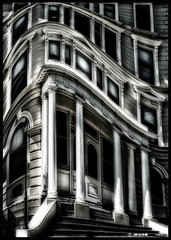 Processing Challenge - Mansion (Dan @ DG Images) Tags: new windows bw white house abstract black dan photoshop silver weird distorted web columns steps perspective entrance surreal warp odd zealand porch midnight nz processing wellington reality nik mansion unreal 35 challenge 38 skew goodwin cs4 colorefex efex fz38 fz35 pommedan